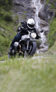 BMW R nine T Scrambler waterfall